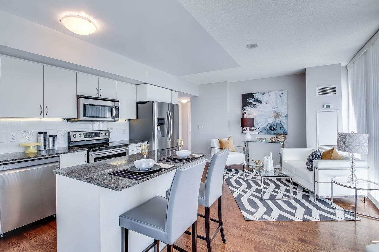 luxury condo living room and kitchen from real estate video